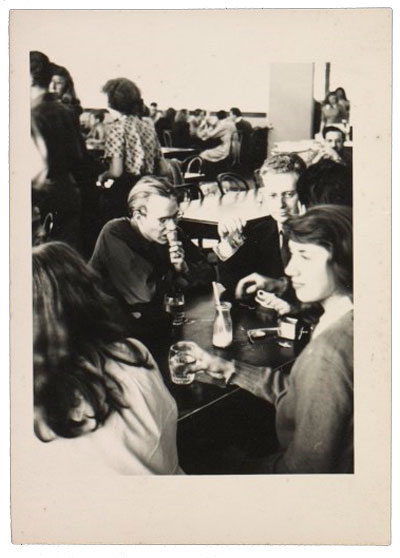 Photograph of Andy Warhol and Philip Pearlstein in the cafeteria at the Carnegie Institute of Technology, ca. 1948-49.