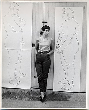 Photograph of Eleanor Dickinson at the Hugh Triton Gallery, ca. 1967
