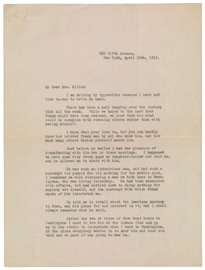 Frissell letter to Lily Millet