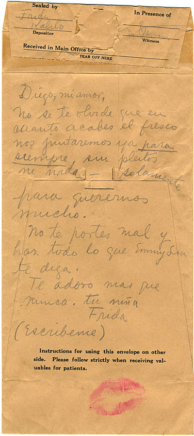 Kahlo letter to Rivera