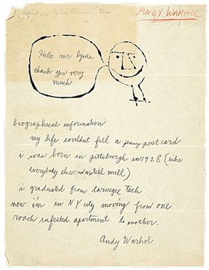 Warhol letter to Lynes