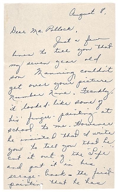 Sellers fan letter to Pollock