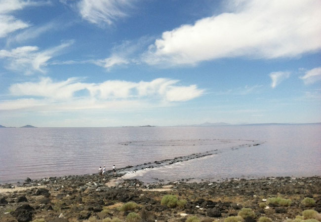 Spiral Jetty is often completely submerged, revealing itself during times of drought. Photo: Jason Stieber