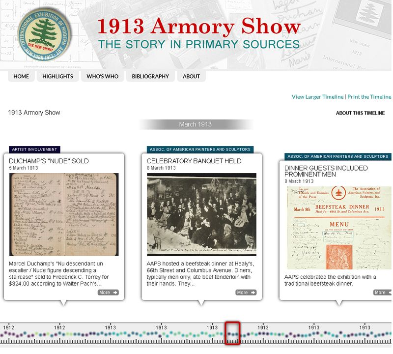 "Screenshot of ""1913 Armory Show: the Story in Primary Sources"" microsite"