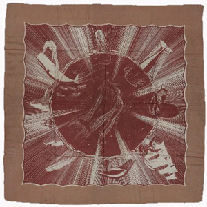 Moby Dick silk scarf in brown designed by Rockwell Kent