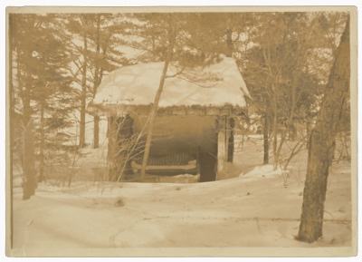 Thayer's daughter Gladys in her sleeping hut