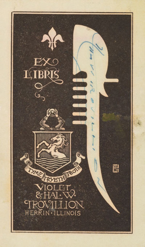 Enclosed bookplate sent to Rockwell Kent
