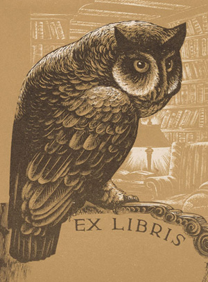 Bookplate with owl design