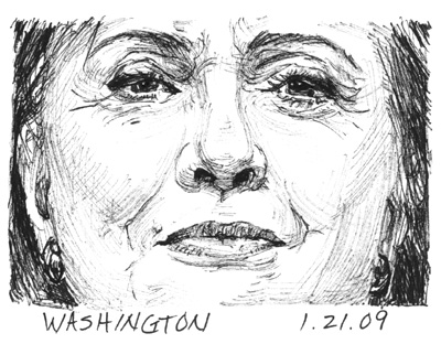 Mary Temple, 1.21.09, detail from the series, Currency, archival ink on paper 15 x 19 in.  Text reads: HILLARY CLINTON SWORN IN AS 67TH U.S.  SECRETARY OF STATE.  Image courtesy of the artist and Mixed Greens, NY, used with permission.