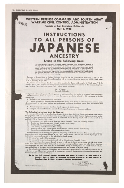Pamphlet for the exhibit Executive order 9066