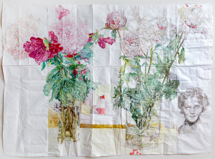Dawn Clements, Peonies, 2014, Watercolor on paper, 69 x 93 inches. Photo: Susan Alzner. Image courtesy Dawn Clements and Pierogi, used with permission.