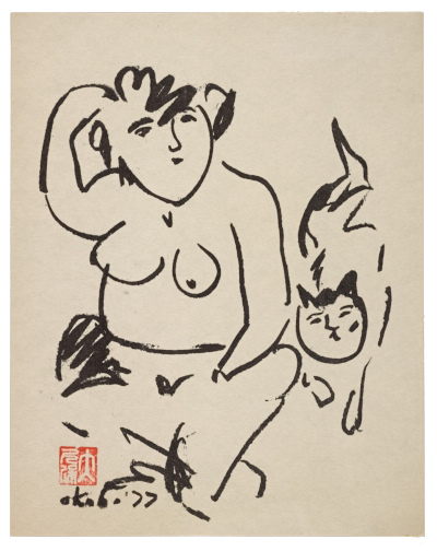 Print of a woman with a cat by Miné Okubo