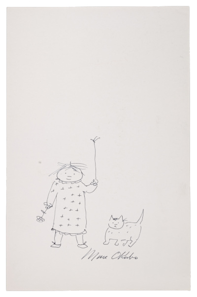 Sketch of a girl and a cat by Miné Okubo
