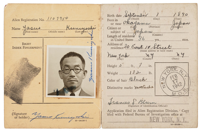 Alien Registration certificate of Yasuo Kuniyoshi