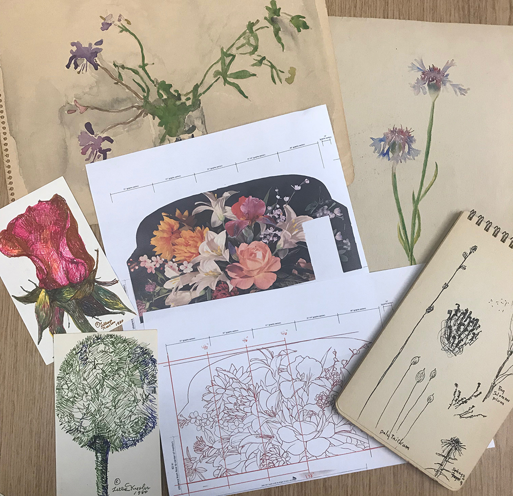 A selection of documents from the Bloom exhibition and the Archives with schematic drawings of the gallery