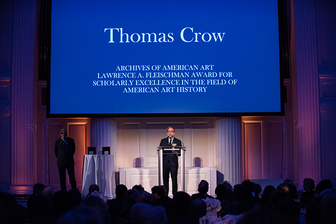 Art critic Thomas Crow accepting award at Annual Benefit