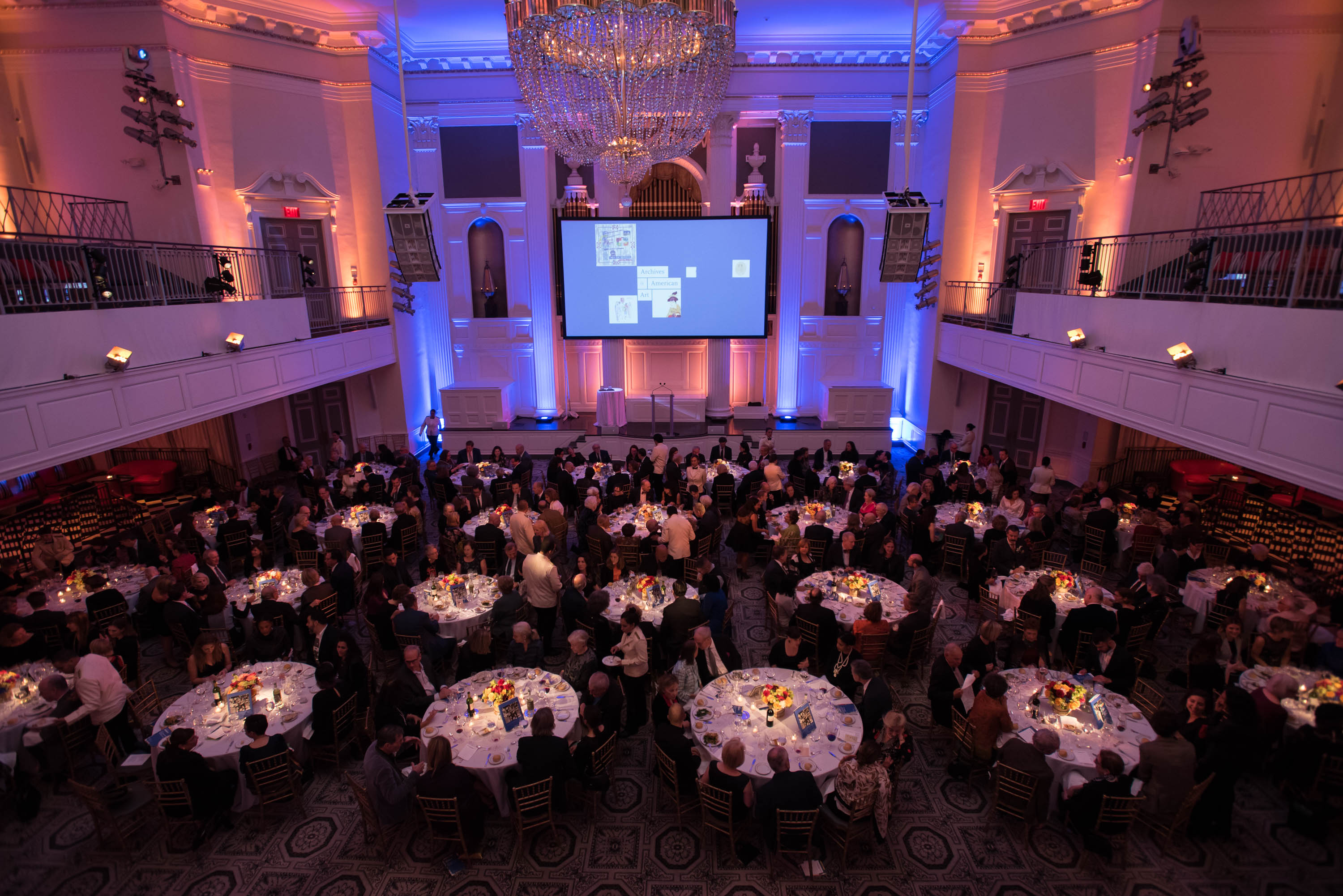 Photograph of the 2017 Benefit space and dinner tables