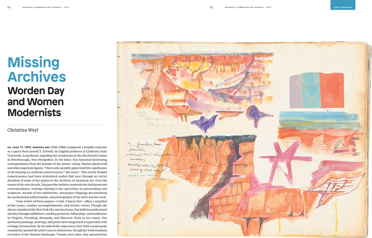 First page spread from the Fall 2019 Archives of American Art Journal