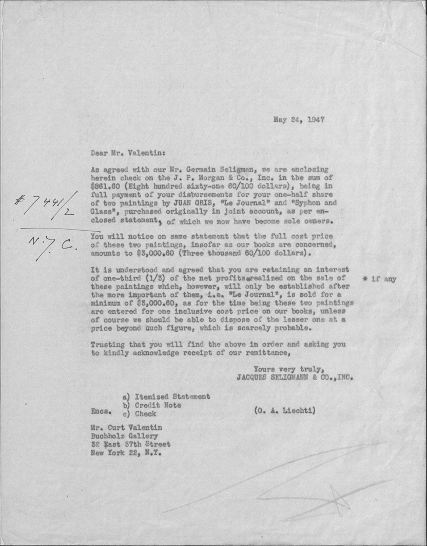 A letter dated May 24, 1947 from Seligmann to Curt Valentin of Buckholz Gallery documenting a joint purchase and ownership of two Juan Gris paintings. This letter is found among the