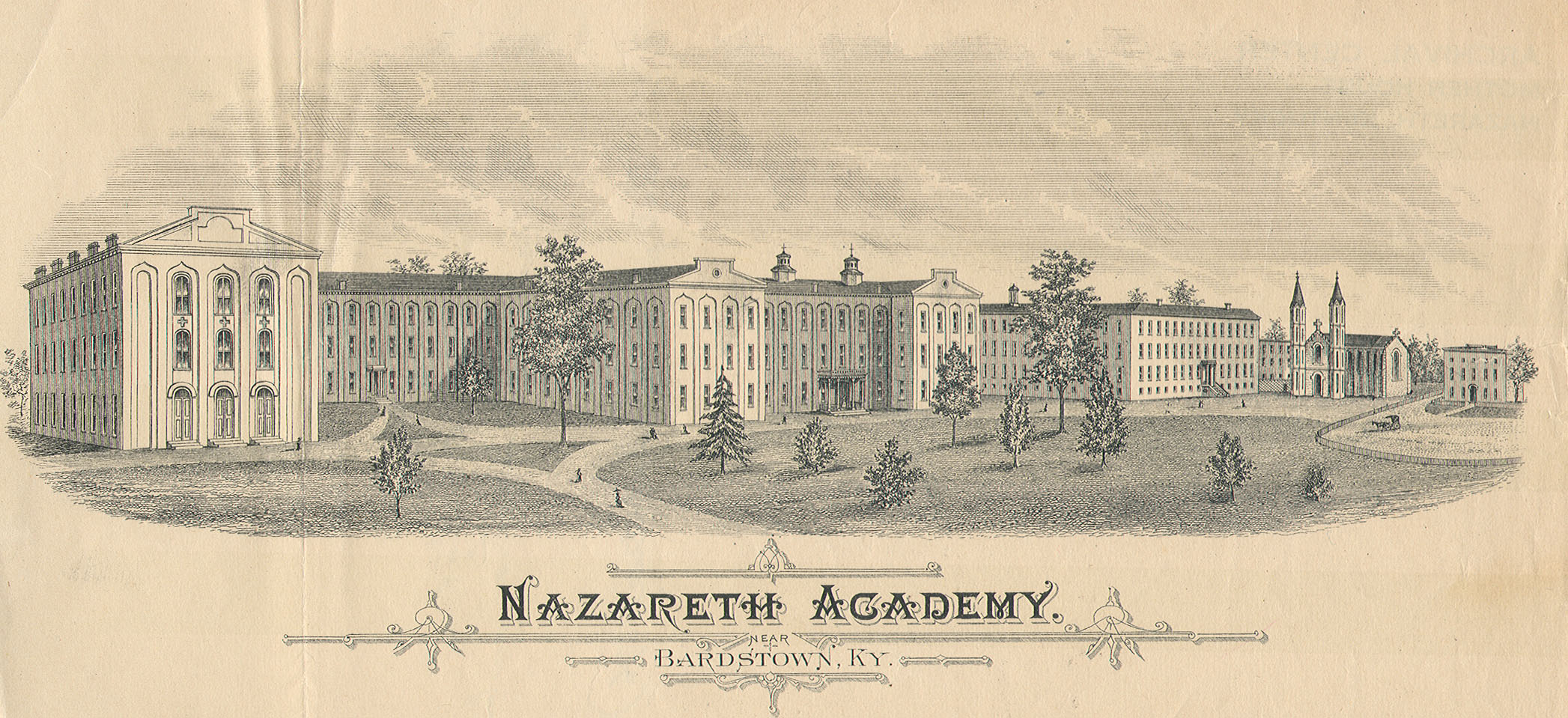 An 1871 illustration of the Nazareth Academy, Bardstown, KY