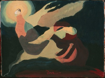 "Figure 1. Arthur Dove, ""The Moon Was Laughing at Me,"" 1937, Wax emulsion on canvas, 6 1/4 x 8 1/4 in., The Phillips Collection, Bequest of Elmira Bier, 1976."