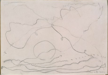 "Figure 11. Arthur Dove, ""Me and the Moon,"" undated. Pencil, 7 x 10 in. The Phillips Collection, Gift of William E. O'Reilly in memory of Leland Bell and Lawrence Gowing, 1991"