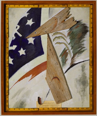 Figure 14. Arthur Dove, Portrait of Ralph Dusenberry, 1924, Oil, folding wooden ruler, wood, and printed paper pasted on canvas, 22 x 18 in., The Metropolitan Museum of Art, New York, Alfred Stieglitz Collection, 1949 (29.70.36)