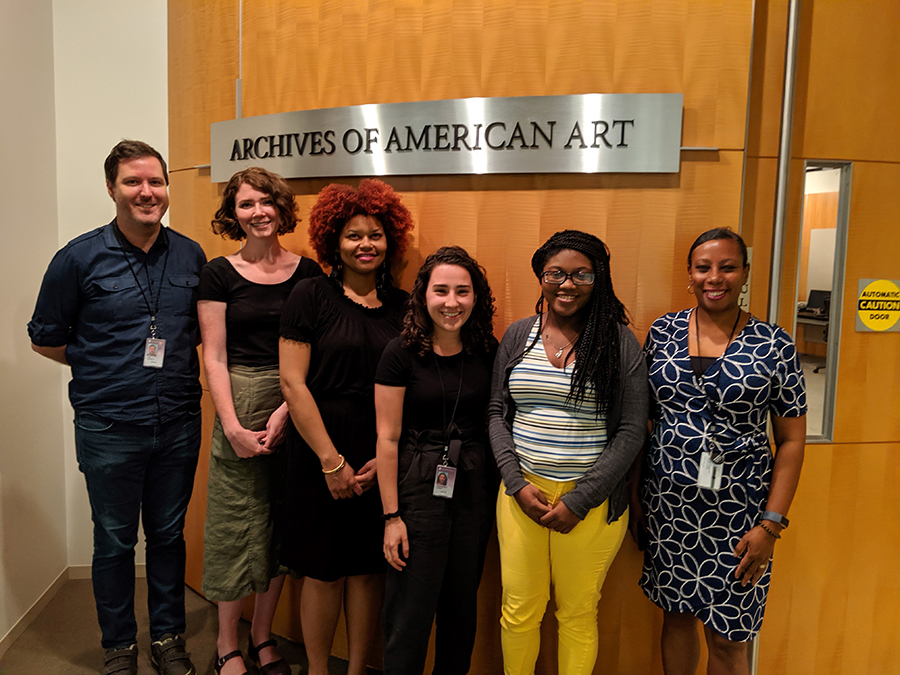Interns in front of Archives of American Art entrance