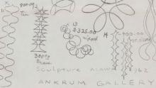 Detail of pencil line drawings of sculptural forms, numbered with notes.