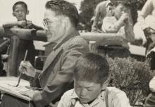 Photograph of Chiura Obata leading an art class (detail).