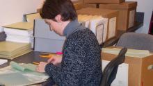 Processing archivist Stephanie Ashley
