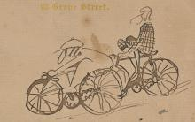 Drawing of Otto Bacher and Robert Blum riding bicycles