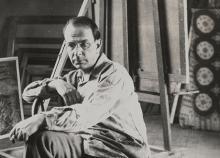 Albert Bloch in his studio, 1932 / unidentified photographer