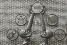 Detail of sculpture, Students Aspire, by Elizabeth Catlett at Howard University