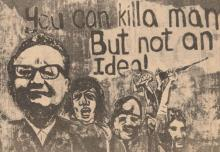 Detail of Salvador Allende mural by the People's Painters collective, reproduced in The Medium.