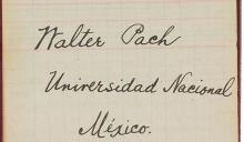 Title page from Walter Pach's course notes from an art history class he taught at Unniversidad Nacional Autonooma de Mexico