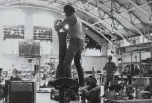 Don Reitz photographed demonstrating the potter wheel.