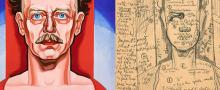 Detail of painting of man against a red and blue background, and a detail of a pencil sketch of the painting with detailed notes