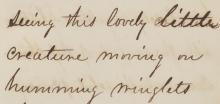 Detail from Heade's Notebook on Hummingbirds that reads, seeing this lovely little creature moving on humming winglets