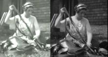 Two versions of the same still from the Cornelia Chapin home movies.