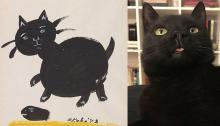 Drawing of a cat by Mine Okubo and photograph of Lincoln the cat.