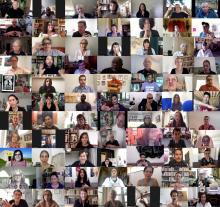 Composite screenshots of 77 video interview participants in a grid. Full participants listed on this page.