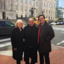 Photograph of Liza Kirwin, Cheech Marin, and Josh Franco