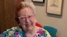 Photograph of Martha Wilson at her oral history interview for the Archives of American Art