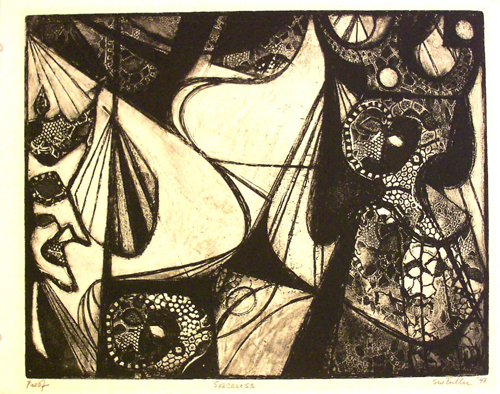Figure 13. Sue Fuller, Sorceress (1948) Soft ground etching 11 3/4 x 15 in. Image and art courtesy of the Estate of the Artist and the Susan Teller Gallery, New York, NY.