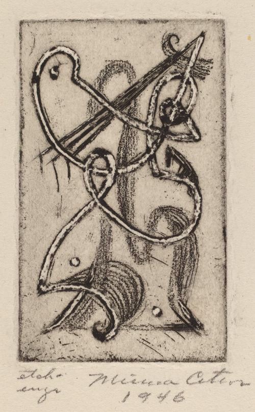 Figure 15. Minna Wright Citron, Whatever (1946) Etching and engraving on wove paper Plate: 6.35 x 3.81 cm (2 1/2 x 1 1/2 in.) Sheet: 15.56 x 13.34 cm (6 1/8 x 5 1/4 in.) National Gallery of Art, Rosenwald Collection, 1951.16.18. Image courtesy National Gallery of Art, Washington Art courtesy Christiane H. Citron, Art Executor for the Estate of Minna Citron