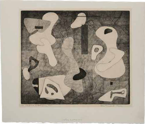 Figure 2. Alice Trumbull Mason, Interference of Closed Forms (1945) Engraving and etching (soft ground) with gouging Plate: 28.9 x 33.7 cm 11 (3/8 x 13 1/4 in.) Sheet: 37.5 x 43.5 cm (14 3/4 x 17 1/8 in.) Philadelphia Museum of Art: Print Club of Philadelphia Permanent Collection, 1946-38-1. Image courtesy Philadelphia Museum of Art Art © Estate of Alice Trumbull Mason/Licensed by VAGA, New York, NY.