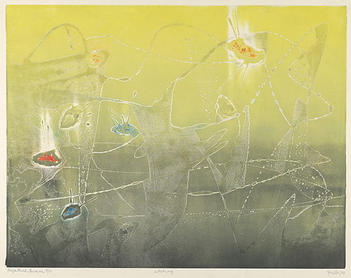 Figure 24. Jan Gelb, Hyaline Pavane (1954) Etching and aquatint Plate: 27.3 x 35.3 cm (10 3/4 x 13 7/8 in.) Sheet: 33 x 50.5 cm (13 x 19 7/8 in.) Metropolitan Museum of Art, John B. Turner Fund, 1954, 54.591.2 Courtesy of the estate of Jan Gelb Margo.