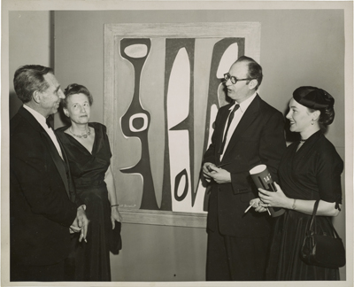 Figure 26. Bertha Schaefer and Will Barnet at the 14 Painter-Printmakers exhibition at the Brooklyn Museum, 1955 / Publicity Photographers (Brooklyn, N.Y.), photographer. Bertha Schaefer papers and gallery records, Archives of American Art, Smithsonian Institution.