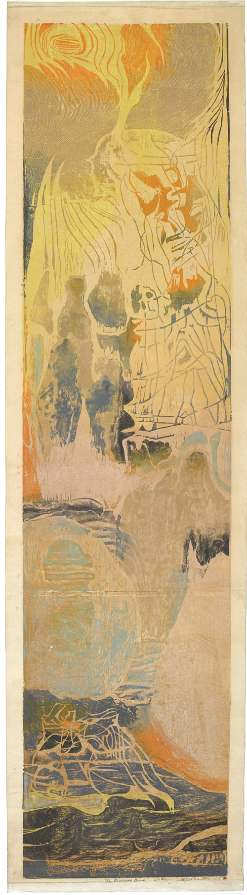 Figure 27. Worden Day, The Burning Bush (1954) Woodcut in color 131.4 x 30.5 cm (51 3/4 x 12 in.) Brooklyn Museum, Dick S. Ramsay Fund, 59.16 Brooklyn Museum photograph Courtesy of the estate of the artist